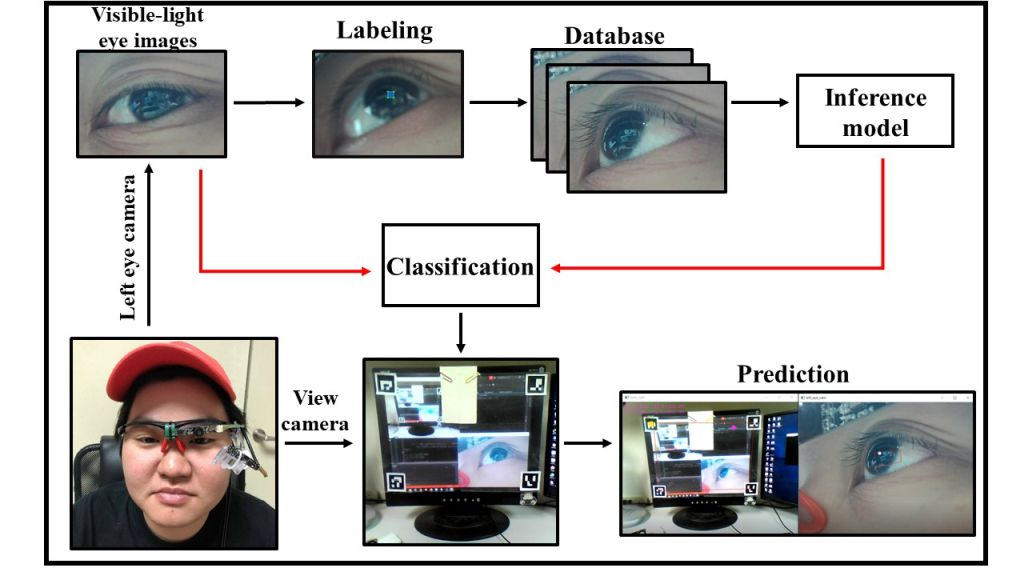 Deep learning based pupil tracking image processing technology for the application of visible-light wearable eye tracker
