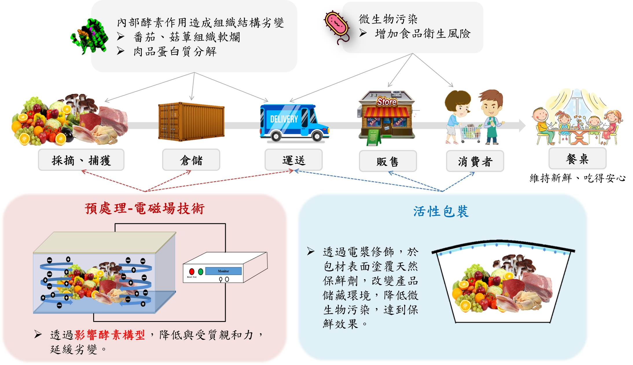 Electromagnetic field technology combined with active packaging application for food preservation